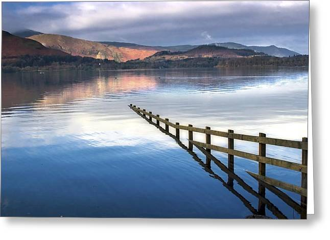 Trees Reflecting In Water Greeting Cards - Lake Derwent, Cumbria, England Greeting Card by John Short