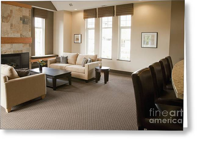 French Door Greeting Cards - Living Room in an Upscale Home Greeting Card by Shannon Fagan
