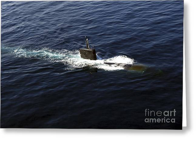 Emergence Greeting Cards - Los Angeles-class Attack Submarine Uss Greeting Card by Stocktrek Images