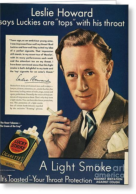 Endorsement Greeting Cards - Lucky Strike Cigarette Ad Greeting Card by Granger