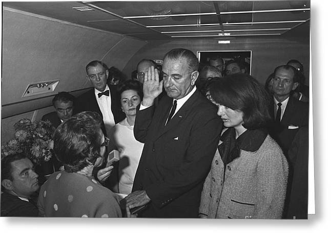 Jackie Kennedy Onassis Greeting Cards - Lyndon Baines Johnson Greeting Card by Granger