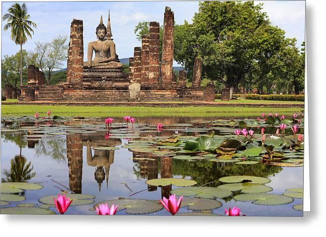 Reflex Greeting Cards - Main buddha Statue in Sukhothai historical park Greeting Card by Anek Suwannaphoom