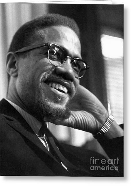 1960s Portraits Greeting Cards - Malcolm X (1925-1965) Greeting Card by Granger