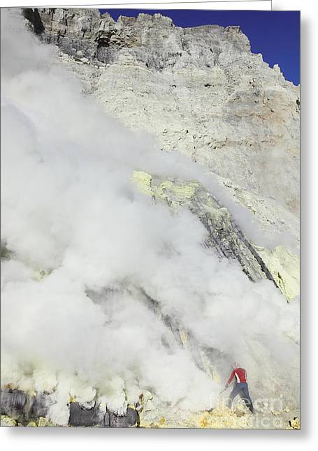 Manual Greeting Cards - Miner Breaking Up Sulphur Deposits Greeting Card by Richard Roscoe