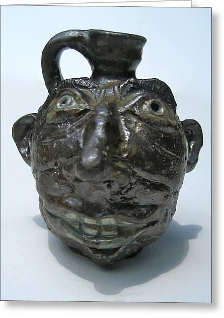 Stoneware Ceramics Greeting Cards - Miniature Face Jug Greeting Card by Stephen Hawks