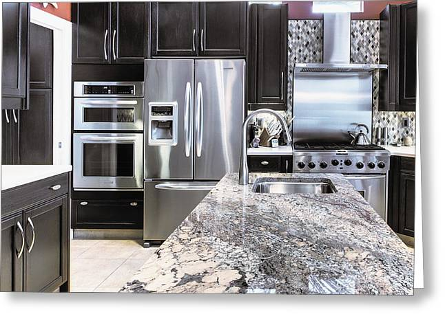 Home Appliance Greeting Cards - Modern Kitchen Interior Greeting Card by Skip Nall