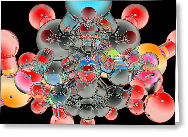 Chemical Compound Greeting Cards - Molecule Greeting Card by Laguna Design