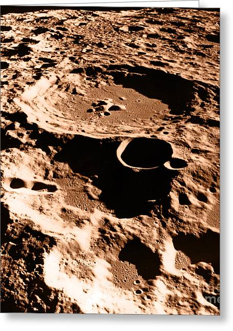 Color Enhanced Greeting Cards - Moon Surface Greeting Card by Science Source/NASA