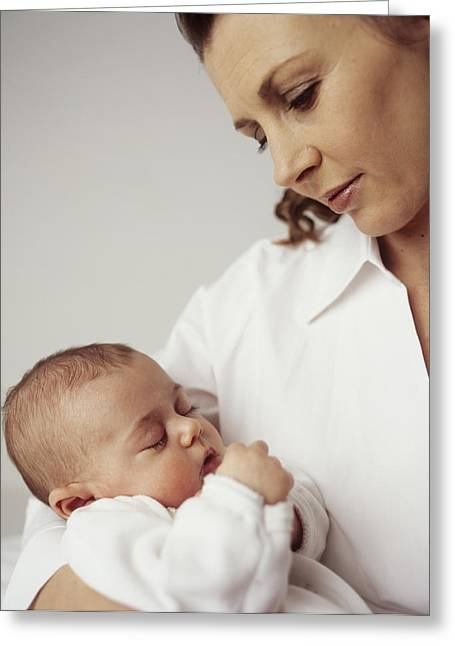 Human Arm Greeting Cards - Mother And Baby Girl Greeting Card by Ian Boddy