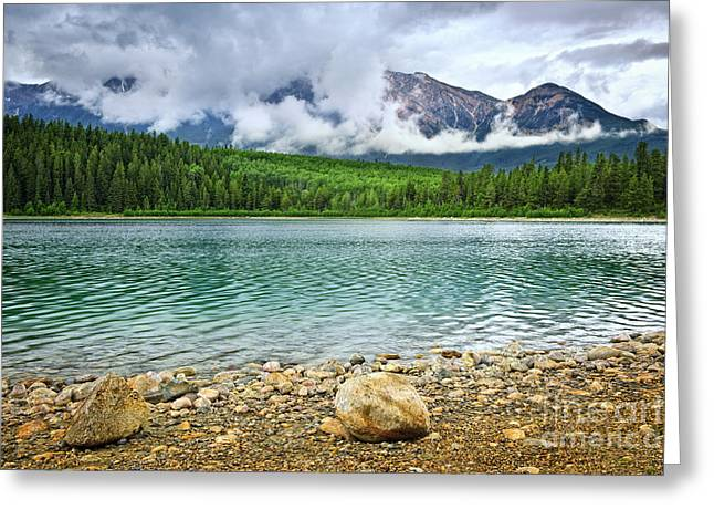 Mountain lake in Jasper National Park Greeting Card by Elena Elisseeva