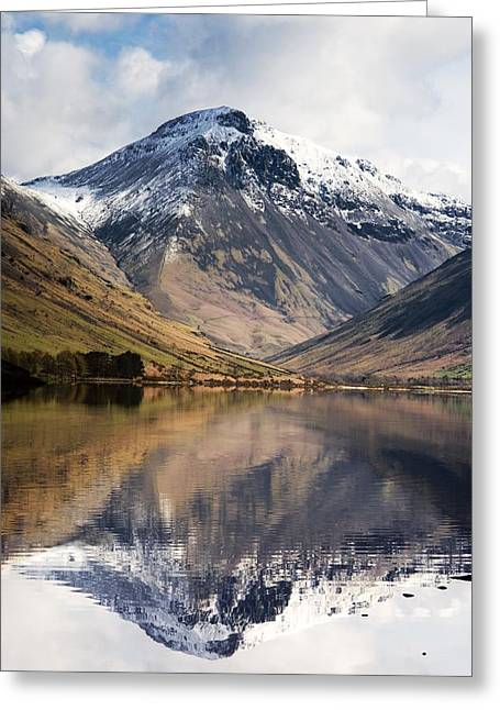 Overcast Day Greeting Cards - Mountains And Lake, Lake District Greeting Card by John Short