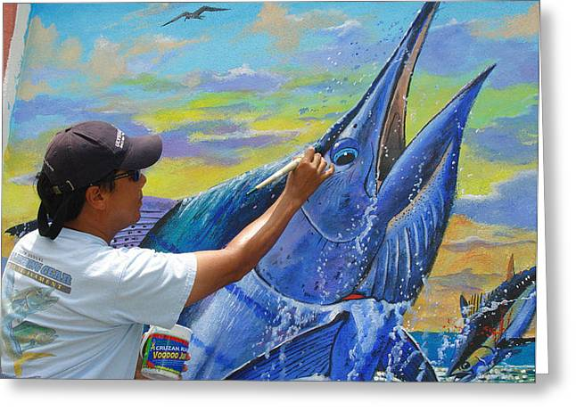 Marlin Tournaments Greeting Cards - Mural in St Thomas Greeting Card by Carey Chen