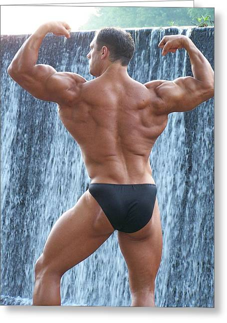 Muscleman Greeting Cards - MuscleArt Marius Poser Classic Greeting Card by Jake Hartz
