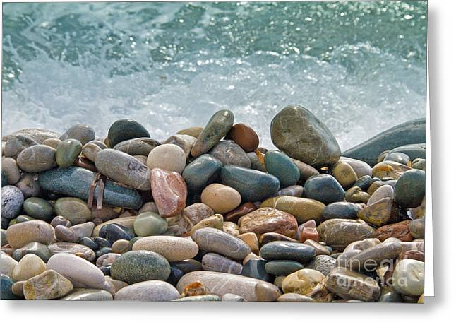 Grey Background Greeting Cards - Ocean Stones Greeting Card by Stylianos Kleanthous