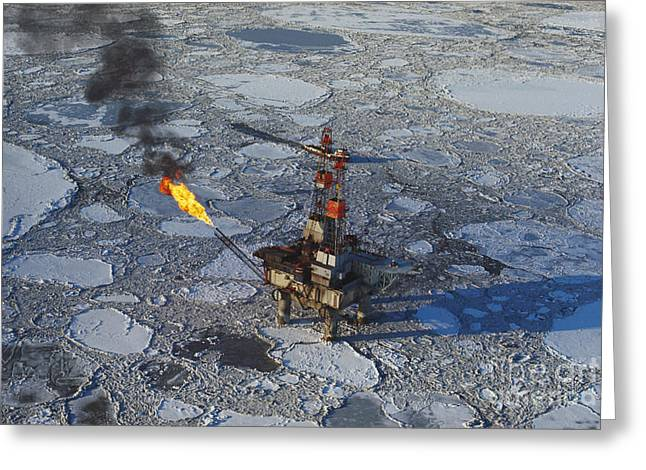 Middle Ground Greeting Cards - Offshore Oil Drilling Platform, Alaska Greeting Card by Joe Rychetnik