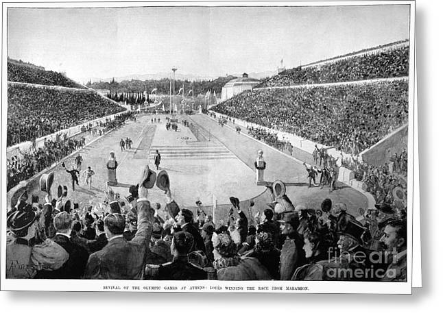 Footrace Greeting Cards - Olympic Games, 1896 Greeting Card by Granger