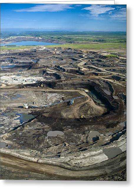 Cut-open Greeting Cards - Opencast Mine, Athabasca Oil Sands Greeting Card by David Nunuk