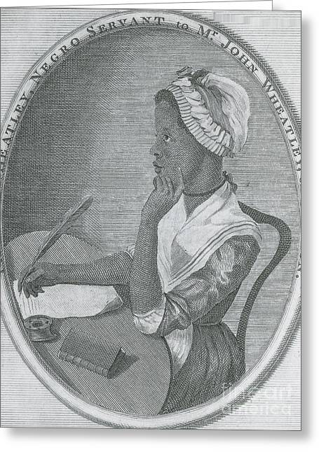 Enslave Greeting Cards - Phillis Wheatley, African-american Poet Greeting Card by Photo Researchers