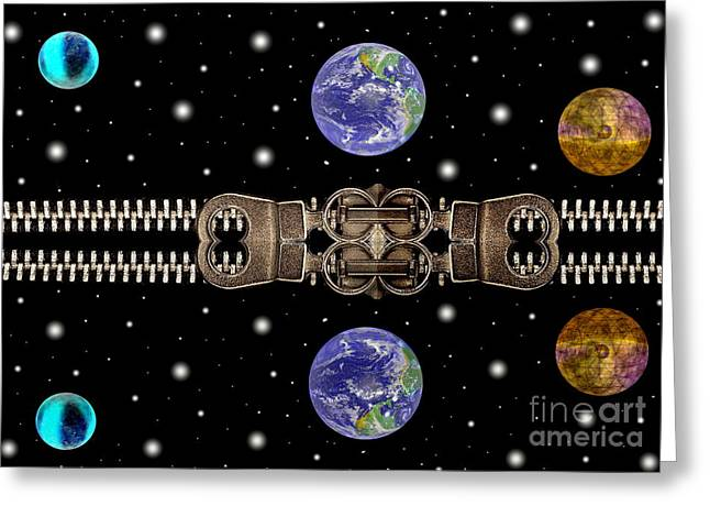 Negotiating Greeting Cards - Planets and zippers Greeting Card by Odon Czintos