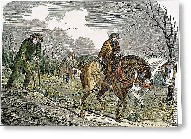 19th Century America Greeting Cards - PLOUGHING, 19th CENTURY Greeting Card by Granger