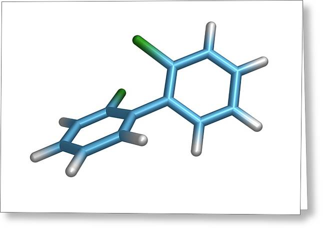 Organic Compound Greeting Cards - Polychlorinated Biphenyl Molecule Greeting Card by Dr Tim Evans