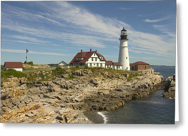 Rocky Coast Greeting Cards - Portland Head Lighthouse Greeting Card by Mike McGlothlen