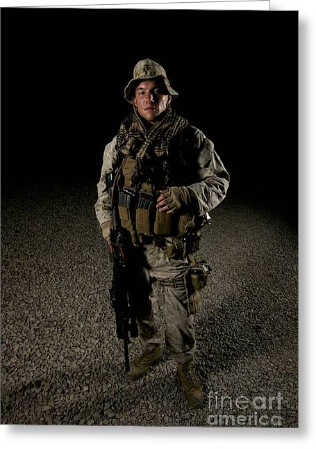 Full-length Portrait Greeting Cards - Portrait Of A U.s. Marine Greeting Card by Terry Moore