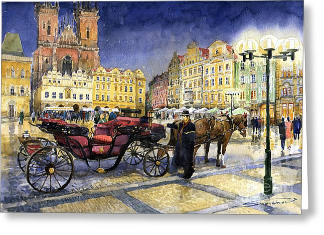 Europe Paintings Greeting Cards - Prague Old Town Square Greeting Card by Yuriy  Shevchuk