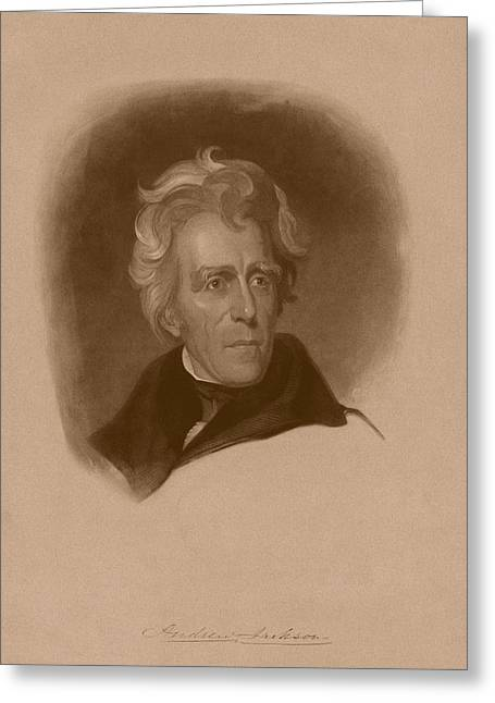 Founding Fathers Mixed Media Greeting Cards - President Andrew Jackson Greeting Card by War Is Hell Store