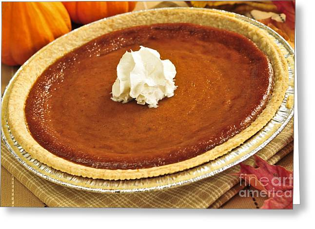Pie Greeting Cards - Pumpkin pie Greeting Card by Elena Elisseeva