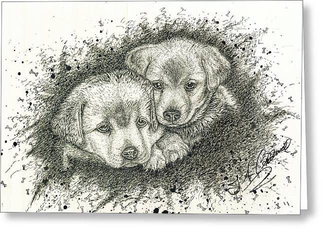Photos Of Cats Drawings Greeting Cards - Puppies Greeting Card by Jac  Jac