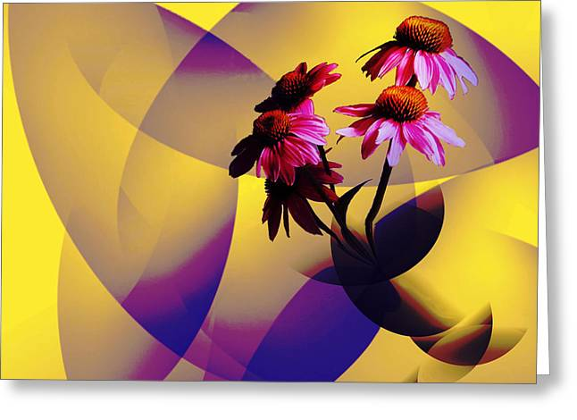 Abstracted Coneflowers Greeting Cards - Purple Coneflowers Greeting Card by Patricia Motley