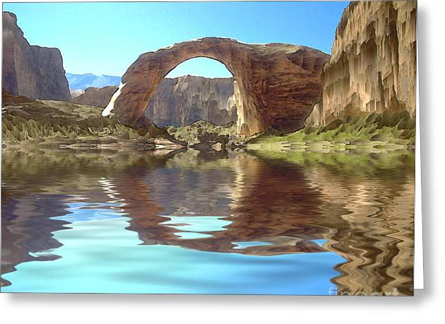 Desert Lake Digital Art Greeting Cards - Rainbow Bridge Greeting Card by Jerry McElroy
