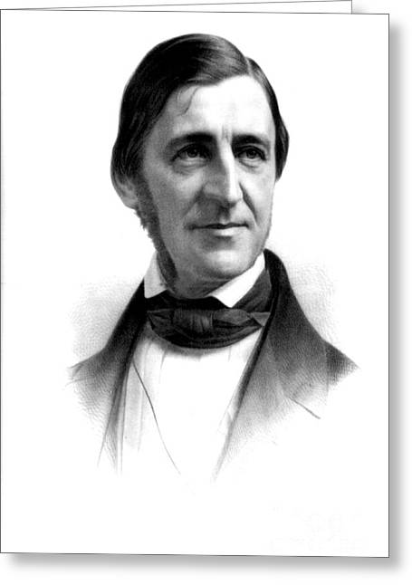 Individualism Greeting Cards - Ralph Waldo Emerson, American Author Greeting Card by Photo Researchers