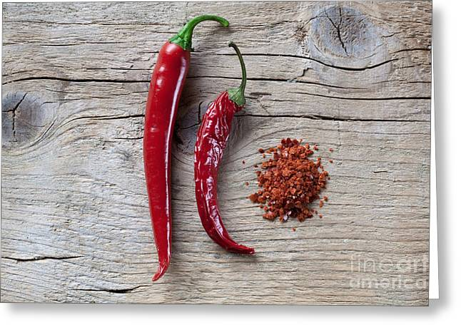 Chilies Greeting Cards - Red Chili Pepper Greeting Card by Nailia Schwarz