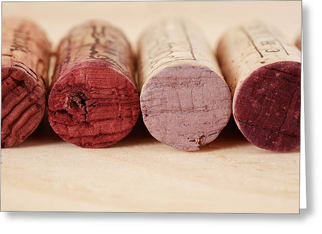 Wine Tasting Greeting Cards - Red Wine Corks Greeting Card by Frank Tschakert