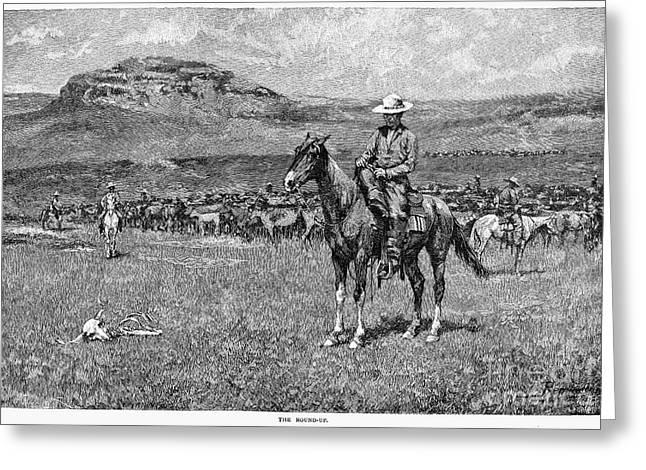 Remington Photographs Greeting Cards - Remington: Cowboy, 1888 Greeting Card by Granger