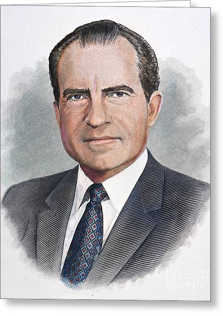 Milhous Greeting Cards - Richard Nixon (1913-1994) Greeting Card by Granger