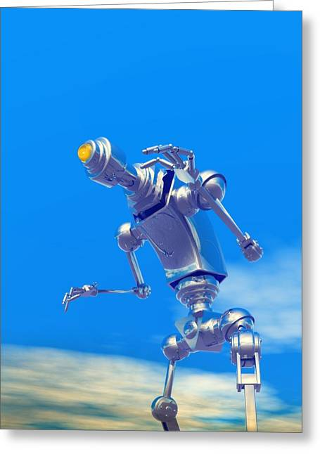 Metal Skill Greeting Cards - Robot, Artwork Greeting Card by Victor Habbick Visions