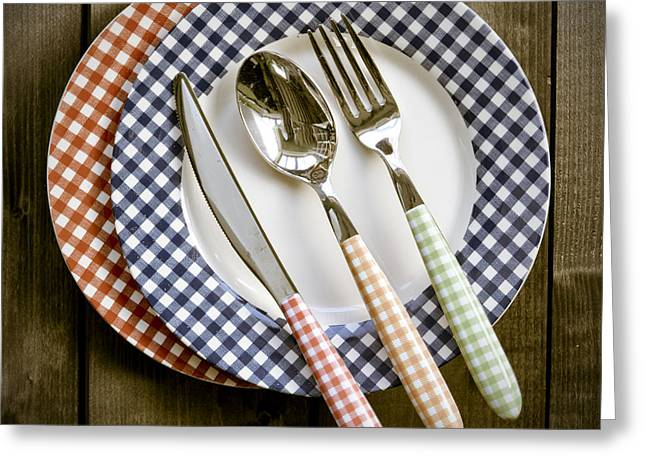 Cutlery Greeting Cards - Rural Plates Greeting Card by Joana Kruse