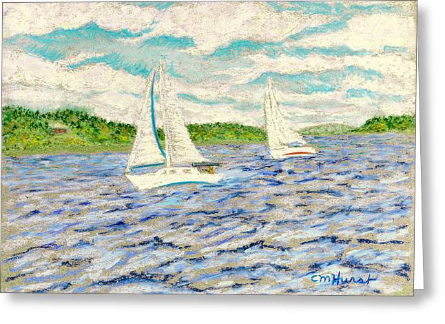Maine Pastels Greeting Cards - Sailing on Casco Bay Greeting Card by Collette Hurst
