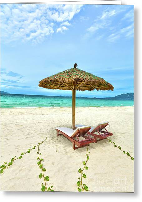 Daybed Greeting Cards - Sandy tropical beach Greeting Card by MotHaiBaPhoto Prints