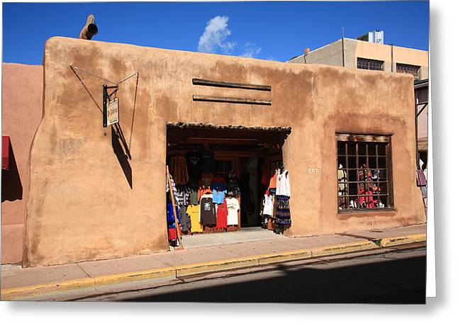 Adobe Greeting Cards - Santa Fe Shops Greeting Card by Frank Romeo