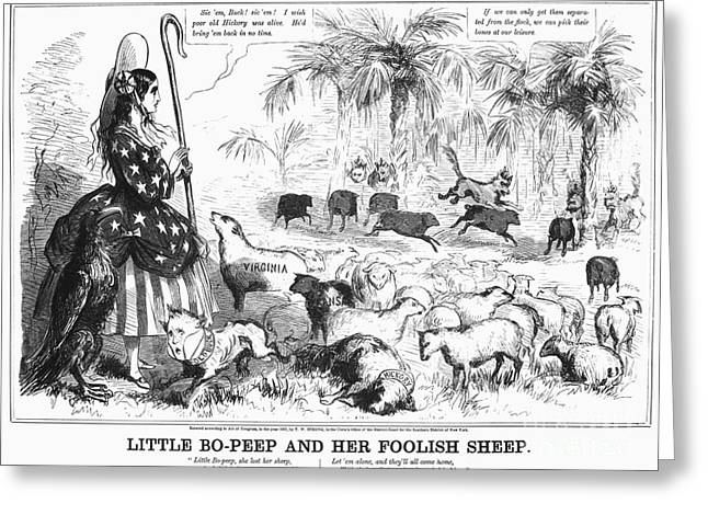 Political Allegory Greeting Cards - Secession Cartoon, 1861 Greeting Card by Granger