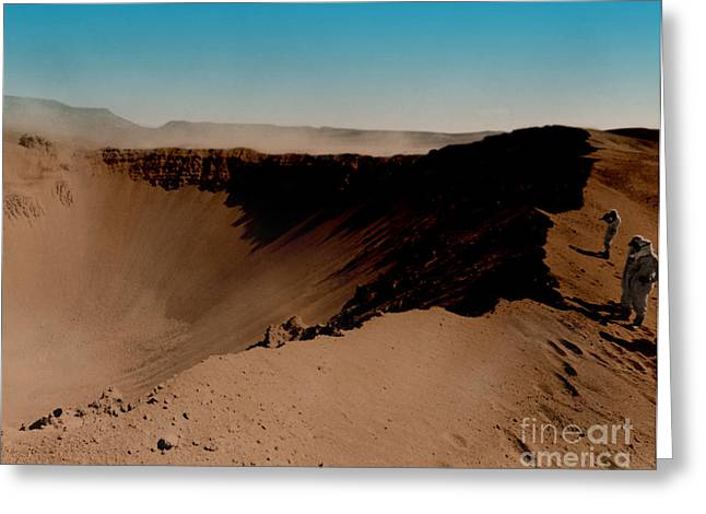 Color Enhanced Greeting Cards - Sedan Crater, Nevada Test Site Greeting Card by Omikron