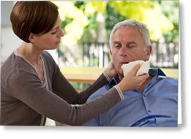 Mid Adult Women Greeting Cards - Senior Man Having A Stroke Greeting Card by