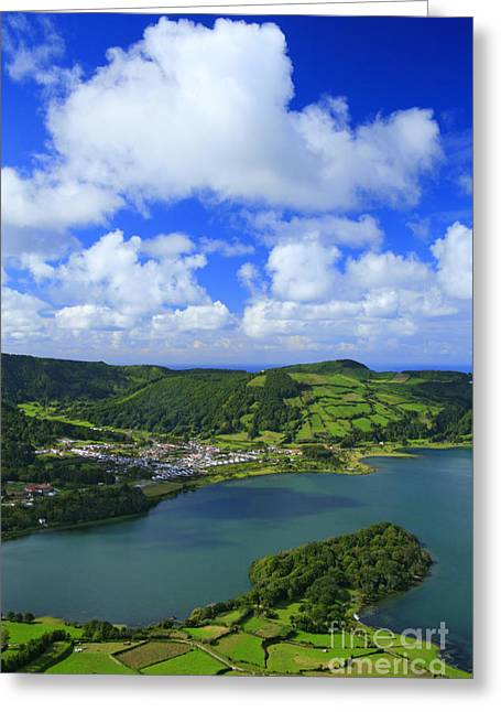 Crater Lake View Greeting Cards - Sete Cidades - Azores Greeting Card by Gaspar Avila