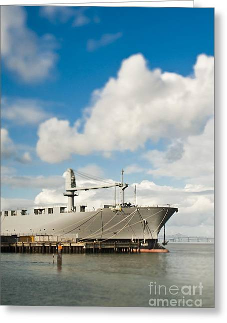 Boats In Harbor Greeting Cards - Ship and Loading Dock at a Seaport Greeting Card by Eddy Joaquim