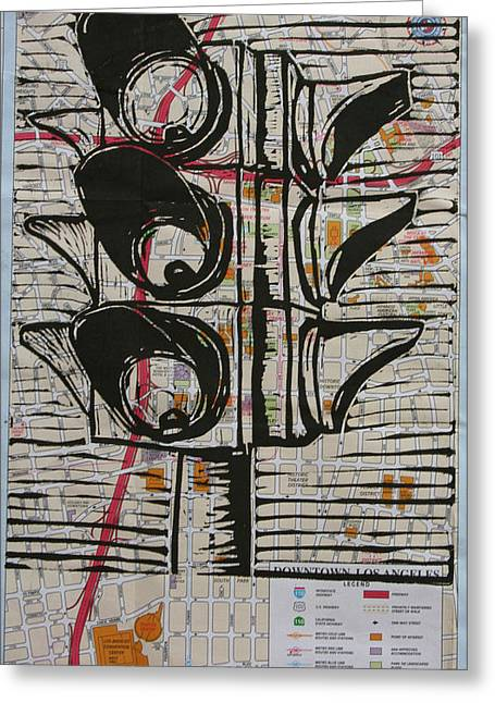 Blockprint Drawings Greeting Cards - Signal Greeting Card by William Cauthern