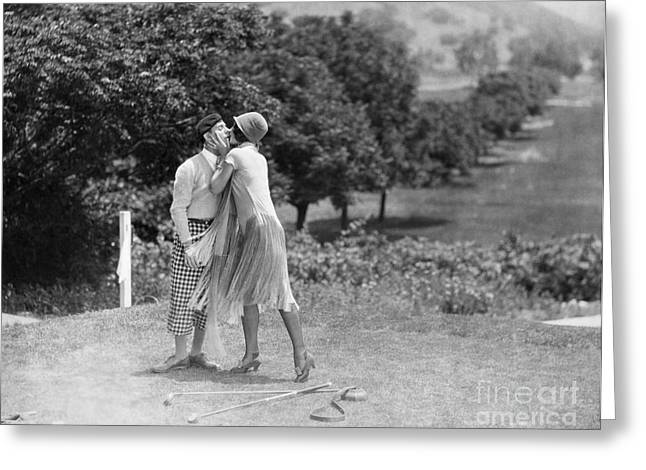 Sports Lover Greeting Cards - Silent Film Still: Golf Greeting Card by Granger